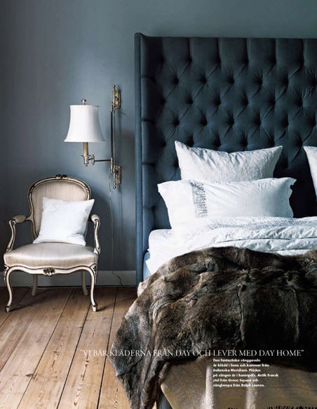 This Bedroom S Dark Gray Diamond Tufted Linen Headboard And The Blue