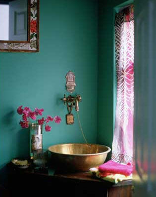 great wall color for a copper vessel sink on a vintage dresser
