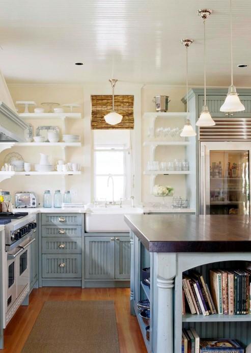 High Gloss Beadboard Ceiling,bamboo Shades, Open Shelves And A Walnut  Island Make A Wonderful Coastal Cottage Kitchen.