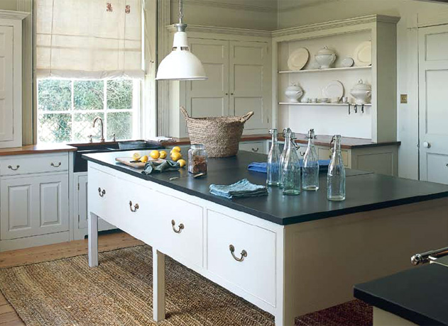 Wood Countertops Mixed With A Sisal Rug