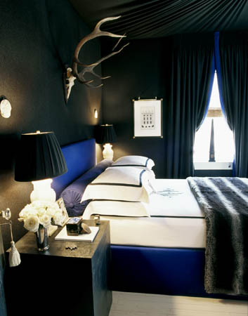Black and blue in the bedroom - buckboard hill interiors