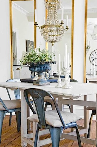 gate leg dining table with tolix chairs mixed with gold framed