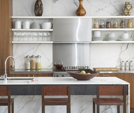 A Modern Kitchen Design Incorporating Open Shelving Stainless Steel And Calcutta Marble