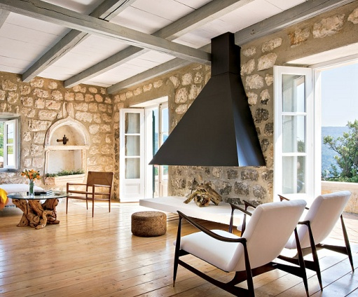 L ceiling and fireplace