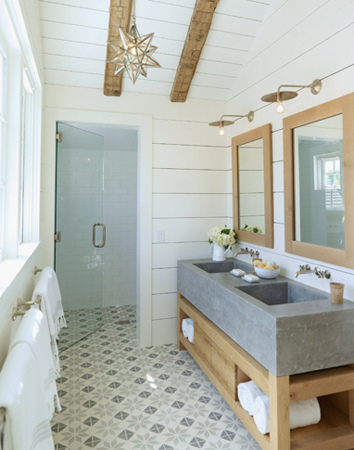 Lighting Bathroom on Barn Light Scones And A Graphic Tiled Floor   Buckboard Hill Interiors