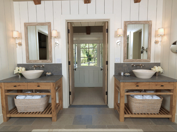 Posted at 09 55 AM in Bathroom   Permalink. Modern country  keeping things symmetrical and neutral   buckboard